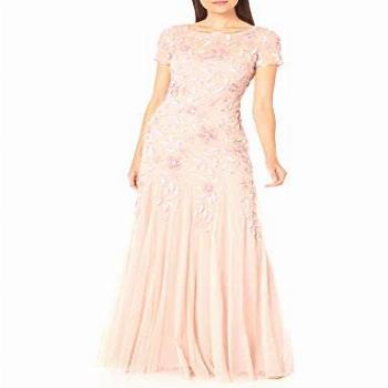 Adrianna Papell Women's Floral Beaded Godet Gown Dress,