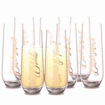 Bride & Bridesmaids Stemless Champagne Flutes, by Kook,
