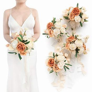 Ling's moment Set of 4 Artificial Wedding Bouquets for Bride