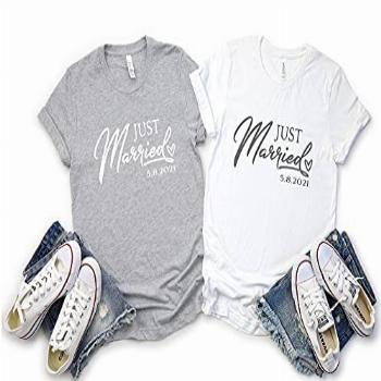 Mr and Mrs Bride and Groom Couples Custom T Shirts, Just