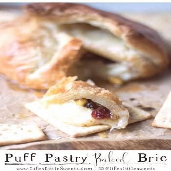 Puff Pastry Baked Brie is an easy recipe with fruit, nuts and jam all wrapped in flaky puff pastry
