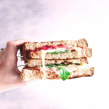 Roasted Rhubarb Brie Sandwich a perfect blend of sour roasted rhubarb with creamy and slightly swee