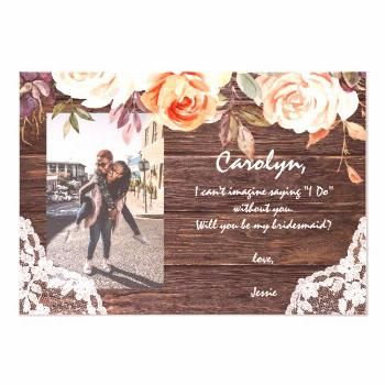Rustic Blush Floral Be My Bridesmaid? with Photo Invitation ,