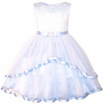Sunny Fashion JT97 Flower Girls Dress Blue Belted Wedding Party Bridesmaid Size ...#belted