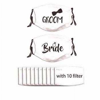 theirsova Bride and Groom Face Mask Wedding Masks White Face