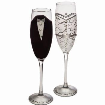 Wedding Day Décor Bride and Groom 7 OZ Champagne Flute Set