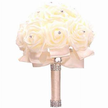 WIFELAI-A Ivory Cream Bouquet for Bride Bridesmaids with