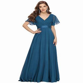 Women's V-Neck Bridesmaid Dresses Wedding Party Gown Evening