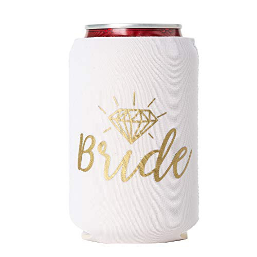 Bride and Groom Can Coolers, Set of 2, 1 White and 1 Black