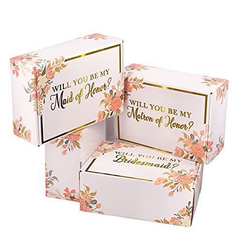 Bridesmaid Proposal Box - Set of 8 With Crinkle Paper for