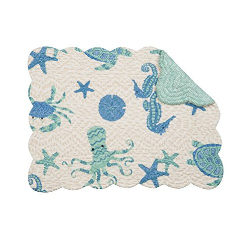 CampF Home Brisbane Rectangle Placemat Set of 6 Cotton Quilted