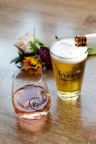 Cute Wedding Gifts - Bride and Groom Novelty Wine Glass and