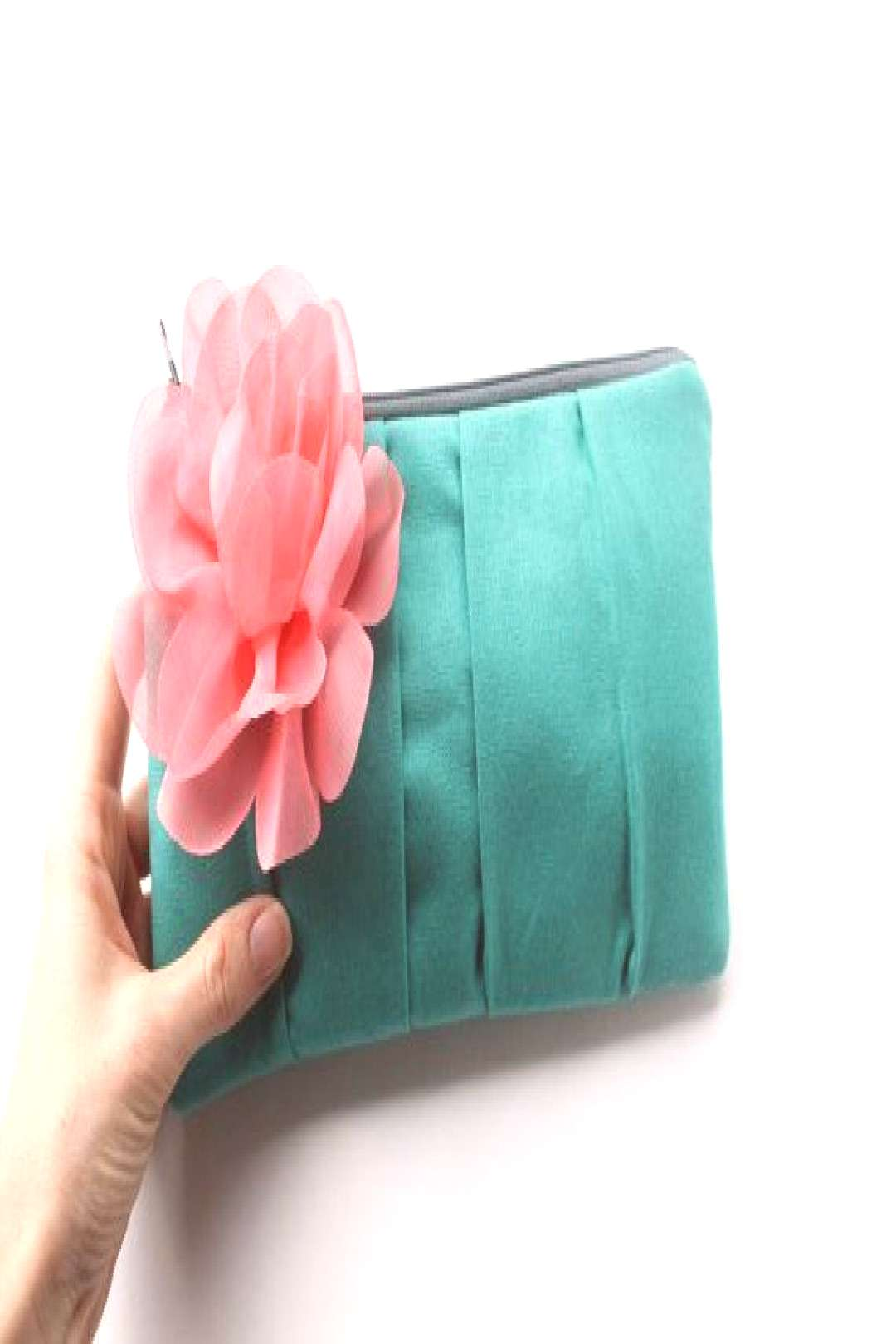 Items similar to Clutch Purse, Bridesmaid Clutch, Turquoise and Coral, Wedding Bag, Flower Br... It