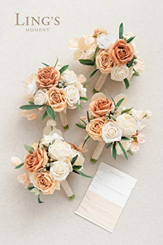 Lings moment Set of 4 Artificial Wedding Bouquets for Bride