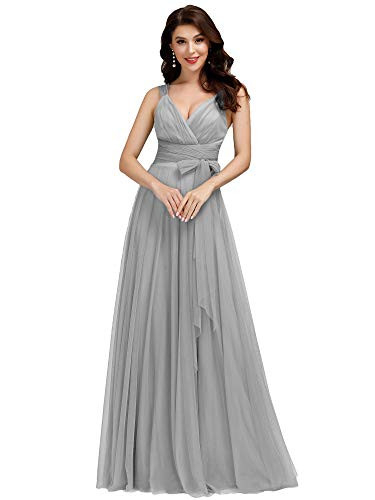 Womens V-Neck Wrap Dress Tulle Bridesmaid Dress Cocktail